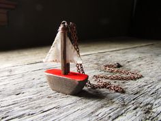 Sailboat Necklace by aptoArt on Etsy, $45.00