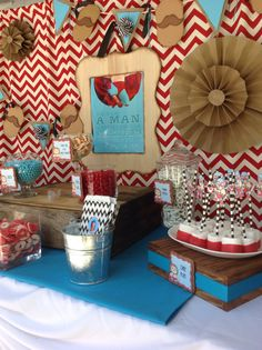 Of course my favorite part of the party.....my candy station!! Had my mom sew a chevron backdrop, thanks to https://www.etsy.com/shop/studiomarshallarts?ga_search_query=Nacho  for the awesome nacho sign!!