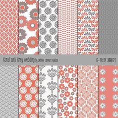 Color Pallet of Fabrics. Coral & Grey.