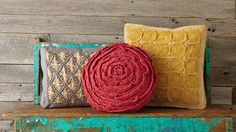 Fair Trade Multicolor Rafia Pillow, by Mar Y Sol. Available at ahalife.com