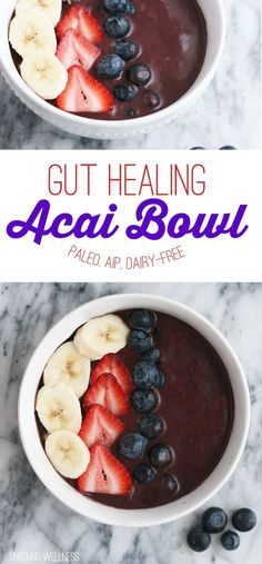 Gut Healing Acai Bowl (paleo, aip, dairy free) omit banana, use protein and collagen Smoothie Bowl, Best Smoothie, Smoothie Recipes, Healthy Smoothies, Acai Smoothie, Green Smoothies, Healthy Foods, Leaky Gut, Paleo Dessert