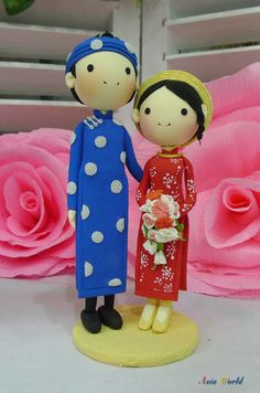 Vietnam Traditional Red & Blue Ao Dai Wedding cake topper clay doll, Engagement party decoration clay figurine, Bridal shower clay miniature...
