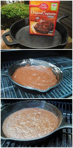Iron Skillet Brownies Grilled Cast-Iron Skillet Brownies, we used to do this and then pour instant chocolate pudding over it.Grilled Cast-Iron Skillet Brownies, we used to do this and then pour instant chocolate pudding over it. Camping Desserts, Camping Meals, Go Camping, Camping Hacks, Camping Cooking, Camping Trailers, Family Camping, Camping Store, Backpacking Meals