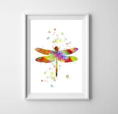 Dragonfly Watercolor Wall Art Print, Insect Print, Nature Wall Art, Wedding Gift, Nursery art, Animal Painting, Wall decor, Watercolor print