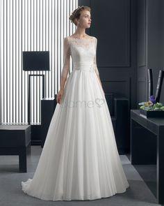 3/4 länge Ärmel A-Linie Tüll Spitze aufgeblähtes bodenlanges Brautkleider mit Blume