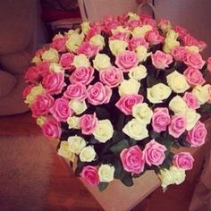 Bouquet of flowers - white and pink roses