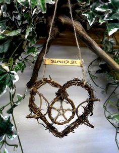 Witch Kitchen Triple Moon Goddess Rustic Heart. Hand Made with Love by Rowan Duxbury. Find me on my : 'Positively Pagan Crafts ' Facebook page.