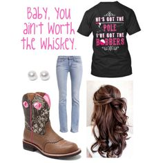 Baby, you ain't worth the whiskey. by rousselobrittany on Polyvore featuring polyvore, fashion, style, Levi's, Ariat and Nouv-Elle