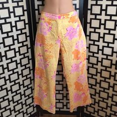 "Key West resort print lion pants From the company that inspired and printed fabric for Lilly Pulitzer. Great condition, bright floral print on yellow background. Cropped style. Waist is 32"". Key West Pants"