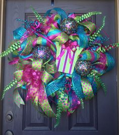 Whimsical bright colored holiday deco mesh wreath by MNYDesigns, $95.00