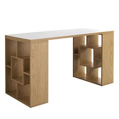 Bureau Cubo marron et blanc 140 x 60 x 75 cm
