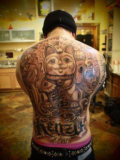 a1ba59b99 Maneki Neko Mr Cartoon Tattoo, Cartoon Art, Pretty Tattoos, Amazing Tattoos,  Cat