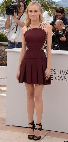 Diane Kruger in Burgundy lace-up Versus mini dress  Cannes Film Festival Jury Photo Call