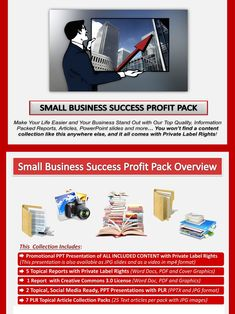Small Business Success PLR Profit Pack Quality, value packed and affordable private label small business portfolios, jam-packed with premium PLR business and marketing reports, essays, articles and graphics. All of it comes with our exclusive, profit-ready, viral PowerPoint presentations. We've done all the hard work for you! #Business #OnlineBusiness #SmallBusiness #InternetBusiness #BusinessSuccess #BusinessBrand #Marketing