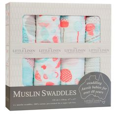 The Little Linen Company - Baby Muslin Swaddle Blanket, Candy 4 Pack