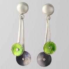 Green Enamel Earring Oxidized Sterling Silver Hand Forged 'Pendulum' by WearEverJewelry on Etsy