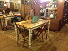 Distressed farm table with legs done in American Paint Company Home Plate.