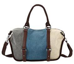 KISS GOLDTM Casual Tricolor Canvas Totes Crossbody Shoulder Bag Blue -- For more information, visit image link.