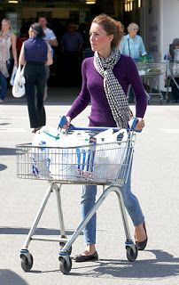 "Duchess Catherine in purple Ralph Lauren cashmere sweater, Paige Denim jeans, Aquascutum London checkered scarf, and London Sole ""Pirouette"" flats while leaving Tesco Supermarket in Holyhead, North Wales, August 2011  *cuz that's how princesses roll; totally going to copy this outfit"