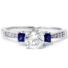 Princess Cut Blue Sapphire & Diamond Engagement by Pompeii3, $1099.00