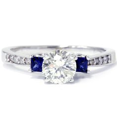 Princess Cut Blue Sapphire & Diamond Ring Reserved for by Pompeii3, $1499.00