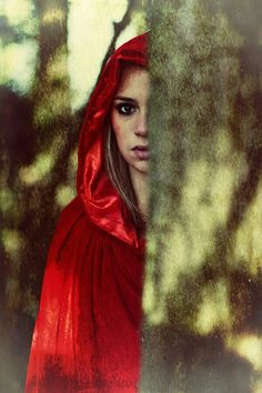 Red Cloak Woman Print by Innershadows Photography