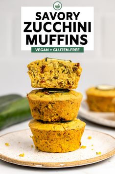 These savory zucchini muffins are fluffy, filling, and packed with plant-based protein. The perfect way to sneak some veggies into your day! Vegan Breakfast Recipes, Vegan Recipes, Chickpea Recipes, Savoury Recipes, Side Recipes, Recipes Dinner, Brunch Recipes, Baking Recipes, Vegan Zucchini