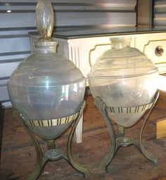 Set 2 LARGE 1910s RX Apothecary show globes Owens IL 1 stopper & 2 stands  in Antiques, Science & Medicine (Pre-1930), Apothecary & Pharmaceutical