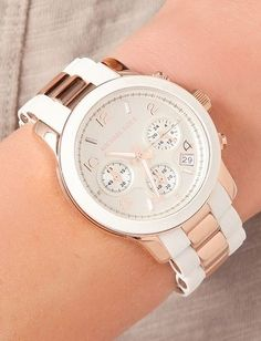 Rose gold and white watch from Michael Kors. Bejeweled | Watch | Summer Style | Galleria Dallas
