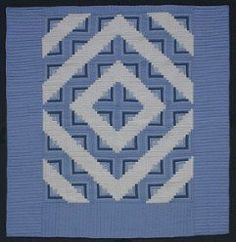 Custom Amish Quilts - Sky Blue Log Cabin Patchwork; Amish Quilter