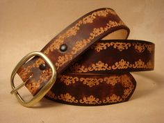 """Tooled Leather Belt - Custom Leather Belt - Personalized Leather Belt - Brown 1-1/2"""" SND Pattern by HawkinsLeather on Etsy https://www.etsy.com/listing/163045611/tooled-leather-belt-custom-leather-belt"""
