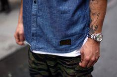 #menswear #chambray #boys #style #fashion #tattoos #men