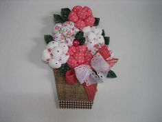 Quadro de flores em tecido, decoupagem.