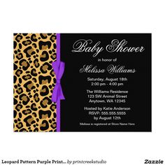 Leopard Pattern Purple Printed Ribbon Baby Shower 5x7 Paper Invitation Card