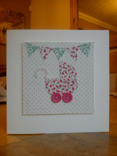 Hand made, stitched, fabric baby girl card