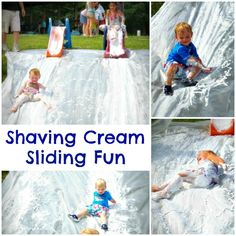 Shaving cream slide- simple Summer fun!