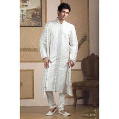 #White #Kurta #Pajama #Set With #Resham #Work #Buy #Kurta #For #Men #Online