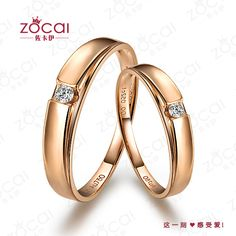 PAIR ZOCAI 0.1 CT CERTIFIED H / SI DIAMOND HIS AND HERS WEDDING BAND COUPLE RINGS SETS ROUND CUT 18K ROSE GOLD