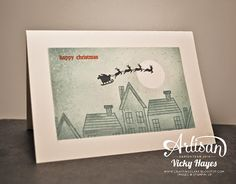 Stampin' Up ideas and supplies from Vicky at Crafting Clare's Paper Moments: One layer Christmas rooftops card using Holiday Home from Stampin' Up