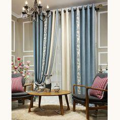 Elegant Curtains Blue Chenille Floral Room Darkening