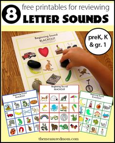 Here's a great beginning sound activity! Print the eight free boards and call out letters. Have your child cover the picture that starts with the letter.