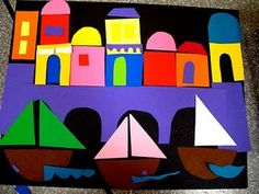 Shapes Venice (Kindergarten shapes lesson)Paul Klee would work with this Kindergarten Art Lessons, Art Lessons Elementary, Kindergarten Shapes, History Lessons For Kids, First Grade Art, Album Jeunesse, Shape Art, School Art Projects, Preschool Art