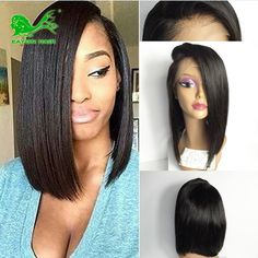 54.70$  Watch here - http://ali0tu.worldwells.pw/go.php?t=32692290654 - 7a short human hair bob wigs for black women lace front bob wigs with bangs silk straight glueless bob full lace human hair wigs