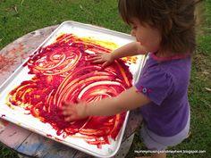Fingerpainting with cornflour paint!