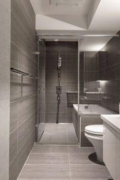 Modern Walk In Shower Designs With Virtuel Reel Slate Tiles And Modern Bathroom