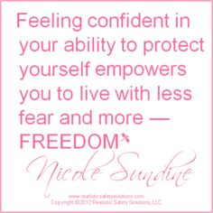 This is an amazingly powerful statement that encapsulates the outreach of the Vigilance Group. By being confident in your capabilities and self defense, you can truly feel free and powerful. Self Defense Women, Self Defense Tools, Girl Empowerment, Empowerment Quotes, Damsel In Defense, Rebel, Wall Quotes, Quotes Quotes, Along The Way