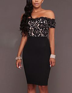 6ce7b1fd49a1 Casual Daily Club Sexy Street chic Bodycon Off-The-Shoulder Over Hip  DressPatchwork