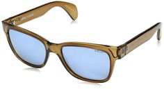 Revo Re 5012 Trystan Polarized Wayfarer Sunglasses, Rootbeer Blue Water, 54 mm. Case included. Lenses are prescription ready (rx-able). Revo high-contrast polarized serilium lenses. Lightweight, shatterproof lens formulated of polycarbonate. 6-base lens technology. Most flat fit relative to your face.