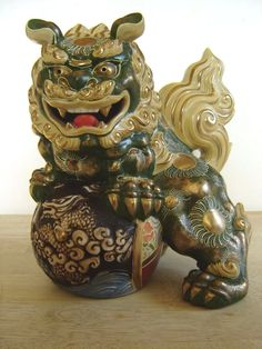 Foo Dog Figurine Glazed Ceramic Statue Chinese