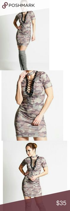 """Camouflage choker bodycon dress Gorgeous camouflage tie up with lace detail,  choker collar bodycon dress.  Perfect for casual or party wear!  95% viscose 5% elastane.  Approximately 33"""" long.  Made in the UK VERY TRENDY! Boutique Dresses Midi"""